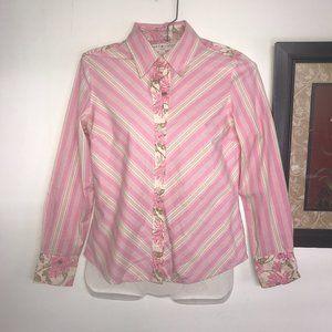 Tommy Hilfiger Button Up Top Size 4P Floral Stripe